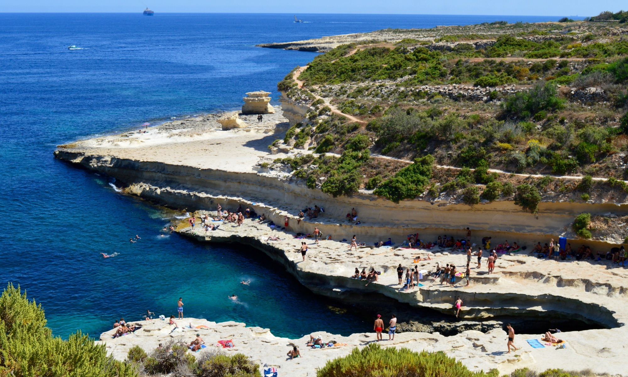 View of St. Peter's Pool in Malta.